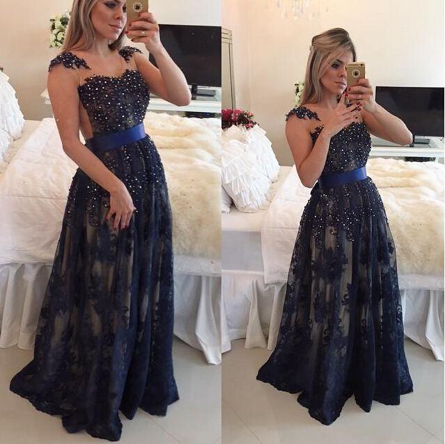 2018 abiti da ballo arabo scuro blu navy in pizzo a-line cap maniche lunghe in rilievo abiti da festa occasione speciale piano lunghezza per le donne