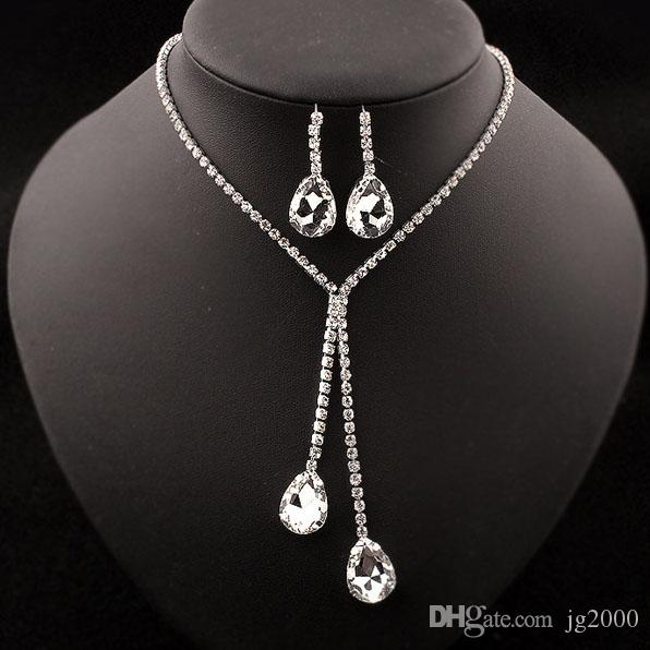 Crystal Necklace Earrings Set Gemstone pendant Artificial Jewelry Jewelry Free shipping