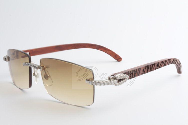 Nova edição limitada Grande diamante óculos de sol de alta qualidade Moda de madeira natural homens e mulheres óculos de sol 3524012 (2) Tamanho: 56-18-135mm