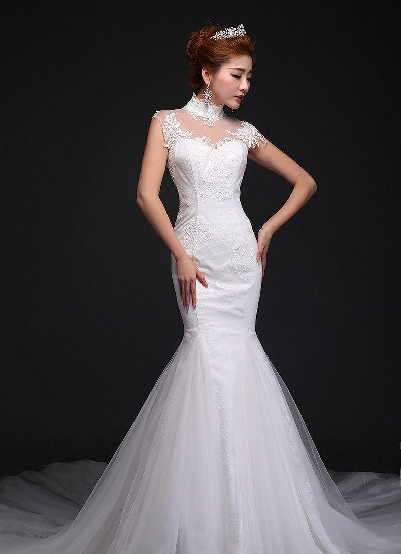 New style lady white net yarn long tail wedding dress women\'s high ...