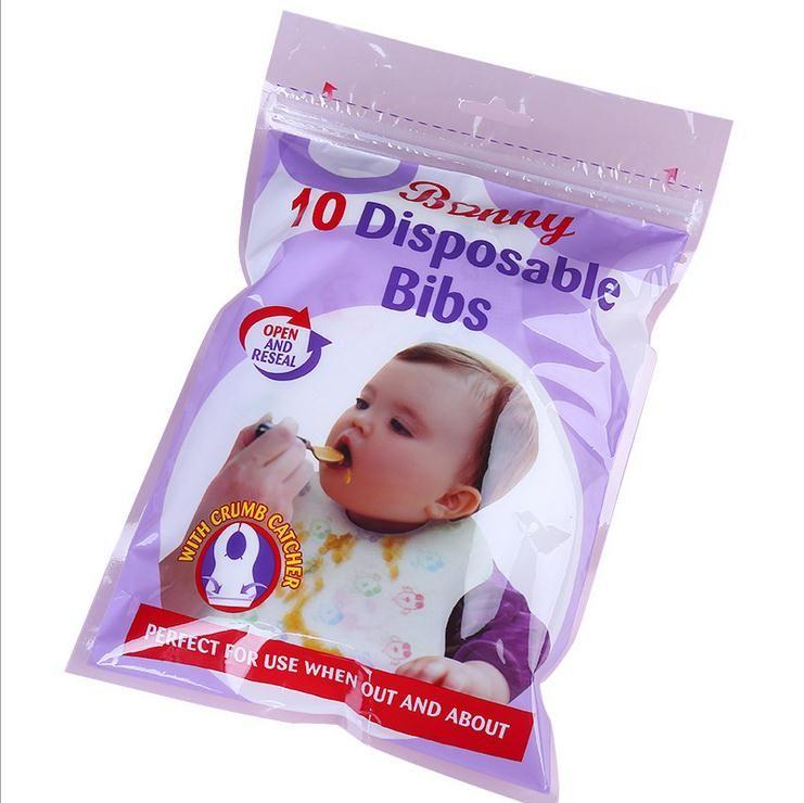 편리한 아기 Bibs 야외 일회용 버프 헝겊 신생아 소녀 소년 방수 Bibs 10pcs / 패턴 무작위로 설정