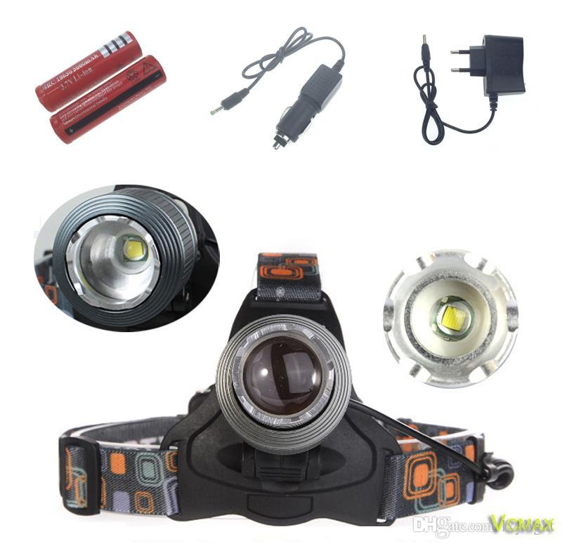 Lampe frontale pour lampe de poche RJ-2800 avec phare T6 LED à zoom avant de 2000 lumens avec 2x 18650 piles et chargeur pour la chasse
