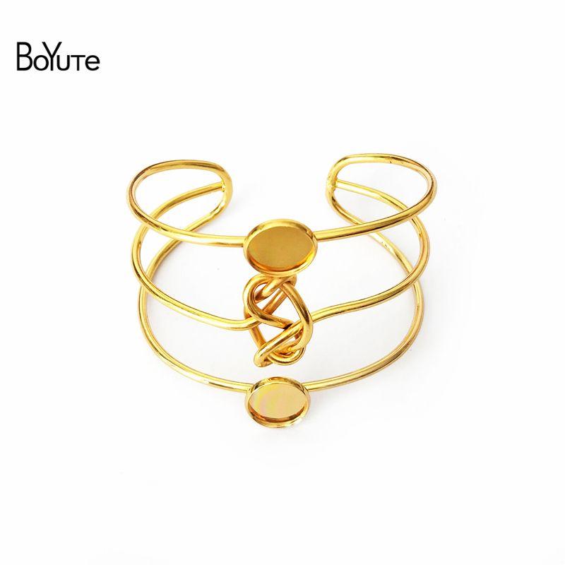 BoYuTe New Product 5Pcs Cabochon Base 12MM DIY Metal Bangle Bracelet 3 Lines Twist Knot Bangles
