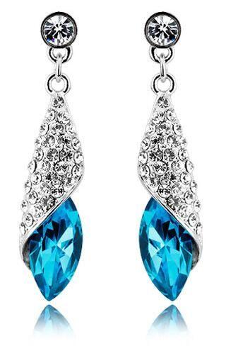 New Fashion 18K White Gold Plated Austrian Crystal Waterdrop Dangle Earrings for Women Rhinestone Long Earrings Bridal Jewelry Wholesale