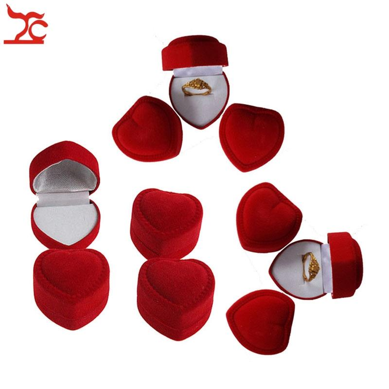 Großhandel 100 Stücke Romantische Schmuck Display Box Red Velvet Valentinstag Geburtstag engagement Herzform Ring Geschenk-boxen
