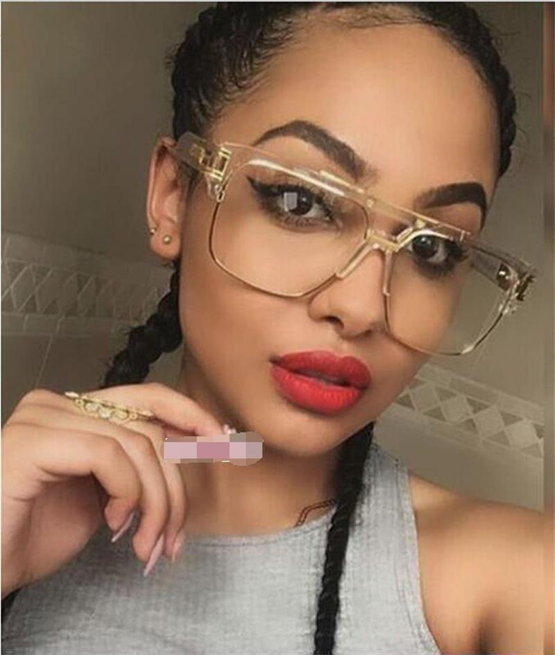 Atacado- Oversized Squre de Metal Eye Glasses Frames Homens Mulheres óculos de leitura Quadro Transparente