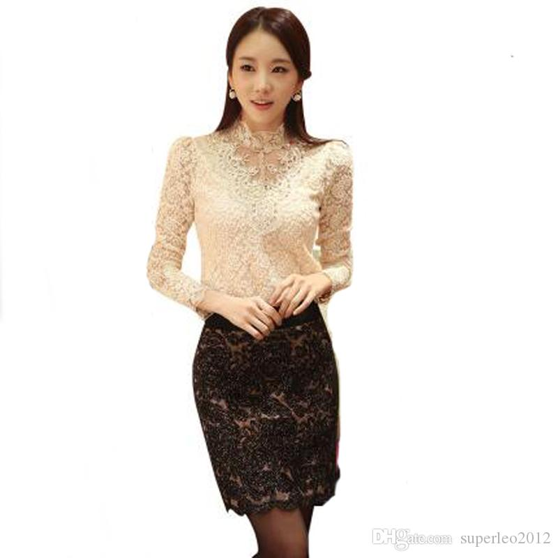 New Autumn Women Elegant Lace Hollow Out Blouse High Neck Long Sleeve Beading T Shirt Plus Size Lady Office Shirts QH8398