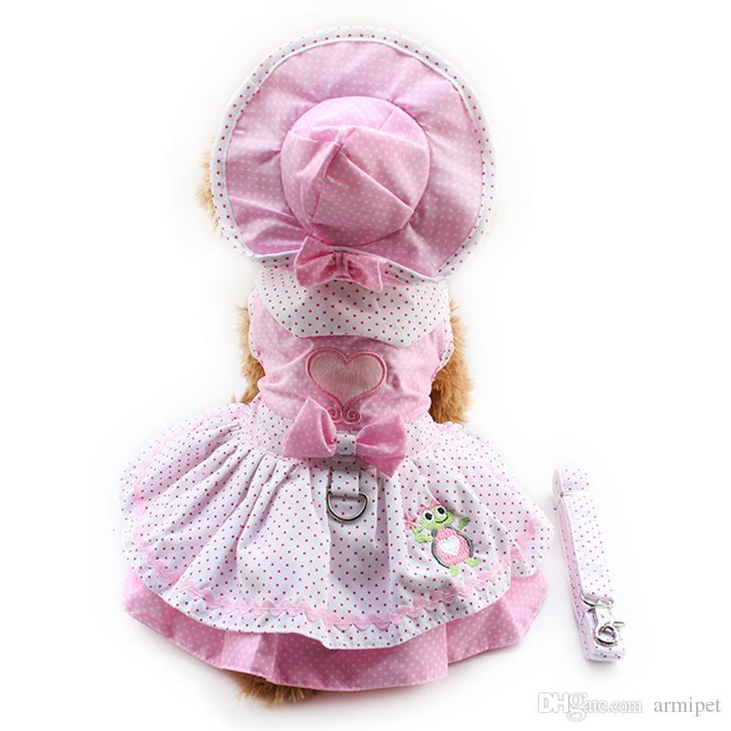 Armipet Dog Dresses Pink Princess Dress للكلاب 6071054 مستلزمات الملابس الحيوانات الأليفة (اللباس + قبعة + سراويل + المقود = 1 مجموعة