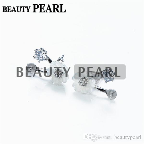 Pearl Earring White Shell Flower Earring Mount 925 Sterling Silver DIY Fine Jewelry Findings 5 Pairs