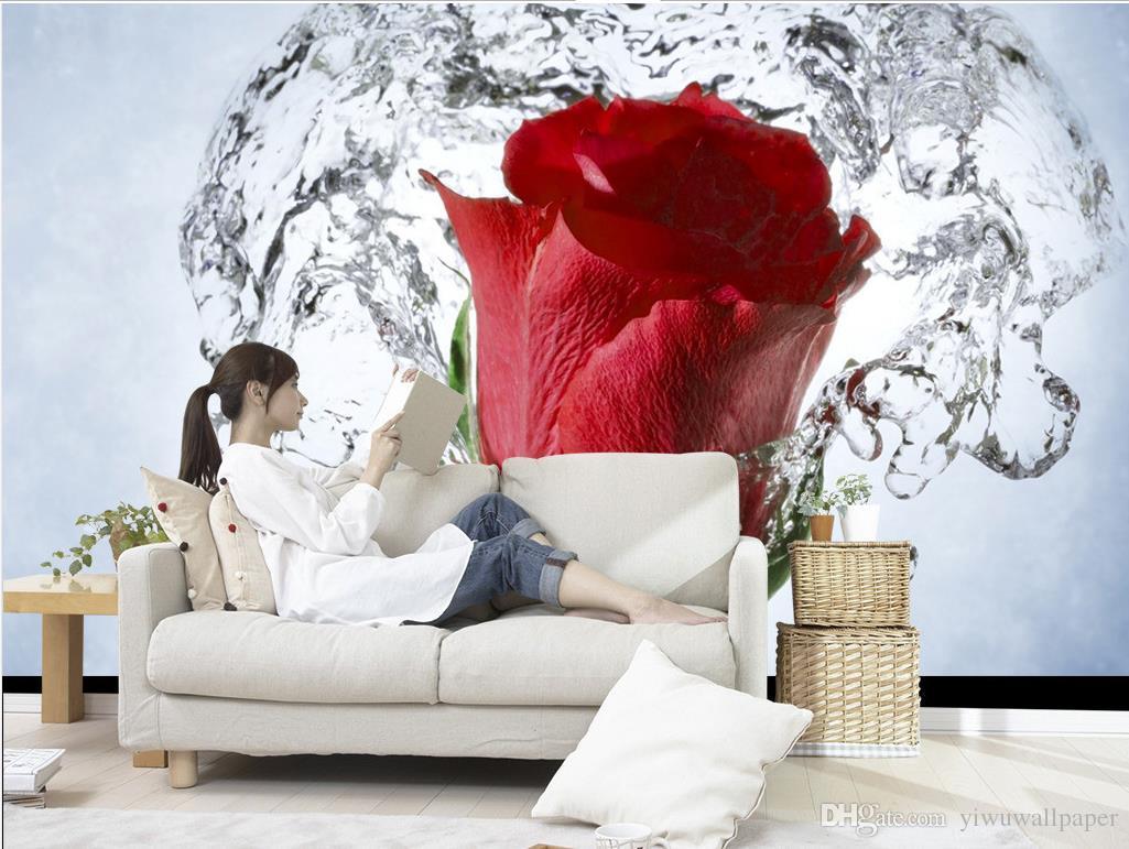 New Custom 3d Beautiful Water Flower Rose Mural Decorative