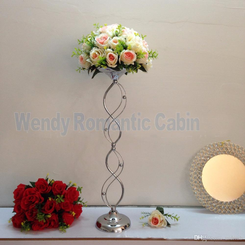 67cm Tall Silver Wedding Flower Vase Silver Table Flower Stand For Wedding  Table Centerpiece ...