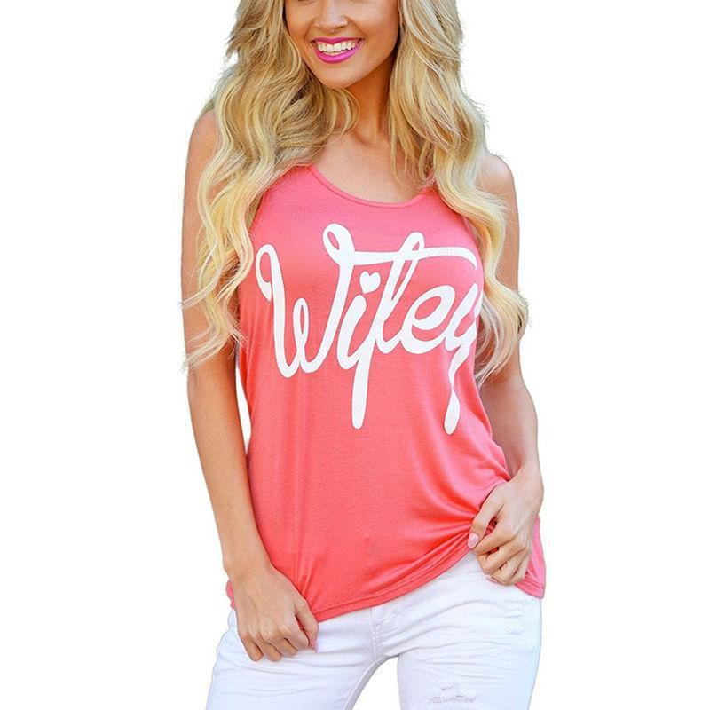 Mujeres camiseta sin mangas Cartas Wifey camiseta impresa verano ocasional Camisetas Mujer tes de las tapas