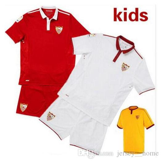 2021 Sevilla Kids Kits Soccer Jersey 16 17 La Liga Sevillas Fc Home Away Camiseta De Futbol Vitolo Vietto Best Quality Children Football Shirt 20 From Jersey Home 17 33 Dhgate Com