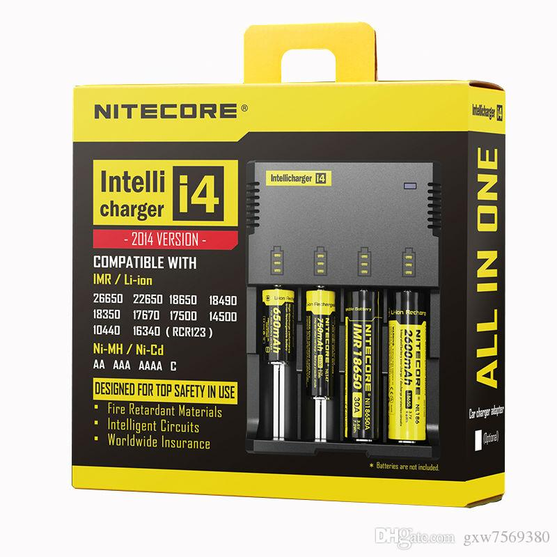 100% Original Nitecore i4 Intellicharger Universal Li-ion / Ni-MH / Ni-Cd Carregador de Bateria para 26650 18650 18350 16340 14500 10440 etc