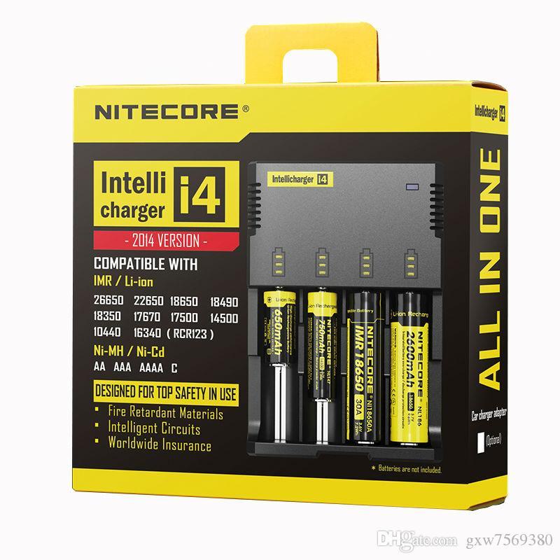 100 % 기존 Nitecore i4 Intellicharger 26650 18650 18350 16340 14500 10440 등을위한 범용 리튬 이온 / Ni-MH / Ni-Cd 배터리 충전기