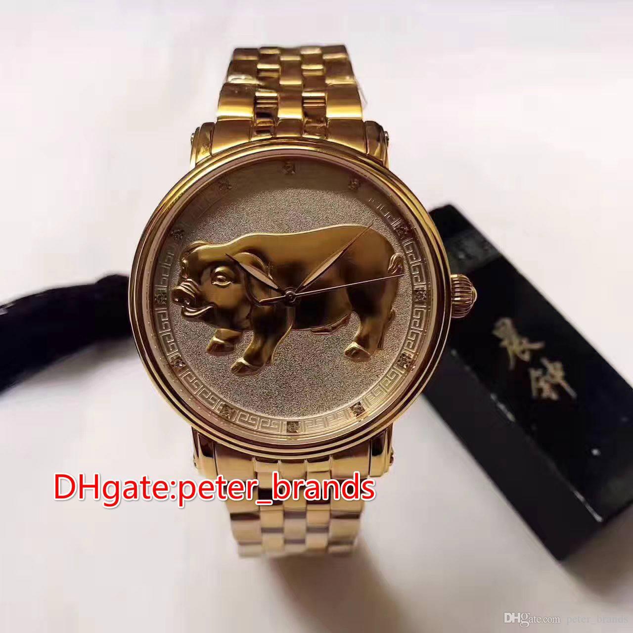 12 animali dello zodiaco con caratteristiche cinesi faccia di maiale cassa in oro rosa pieno orologi automatici da uomo 41 millimetri di vetro copertina posteriore stile orologio di moda