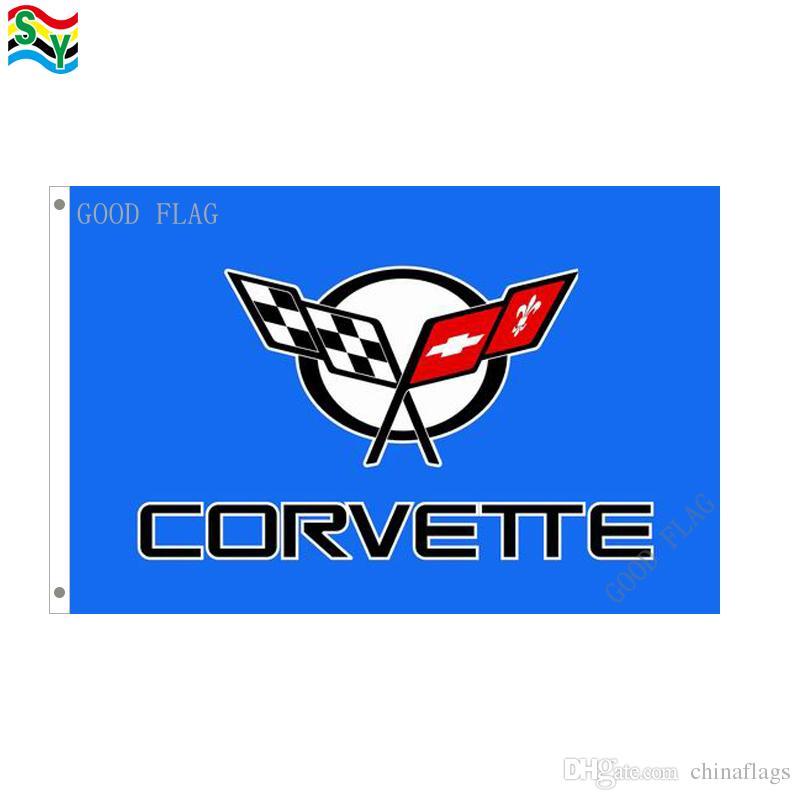 GoodFlag freies Verschiffen Korvette blaues Auto kennzeichnet Fahne 3X5 FT 90 * 150CM Polyster-Flagge im Freien