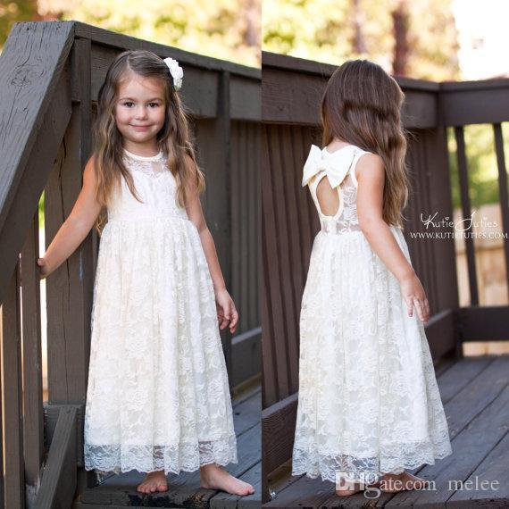 INS Çocuk prenses elbise kız gül dantel sinek kollu uzun elbise çocuklar yaylar backless tam dantel elbiseler çocuk parti elbise 90-140 cm