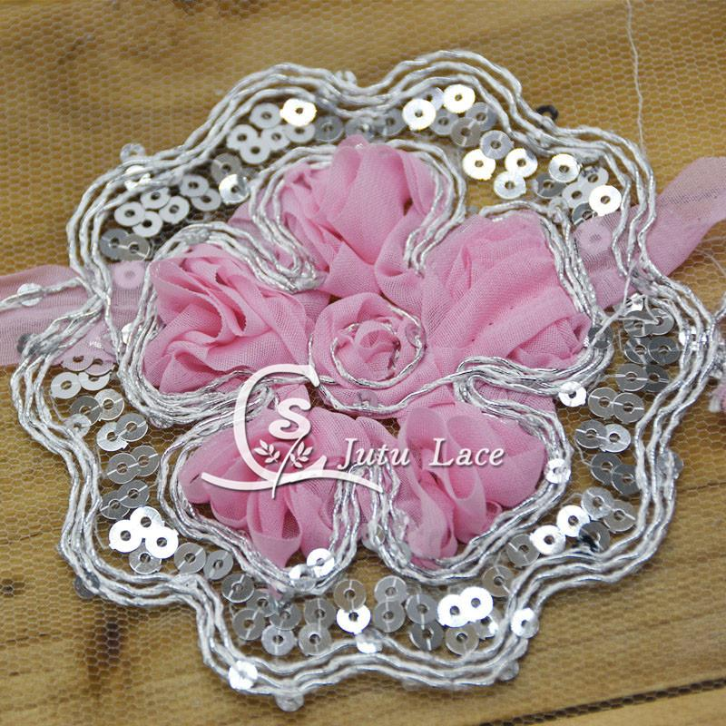 80 teile / los Große Chiffon Blume, Pailletten Stoff Haarschmuck Chiffon Handwerk Blume Appliques Mode Stirnbänder Solide Headwear