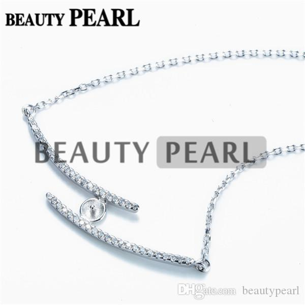 Necklace Blank for Pearls Mounting Two Lines Zircon 925 Sterling Silver Link Chain Base 5 Pieces