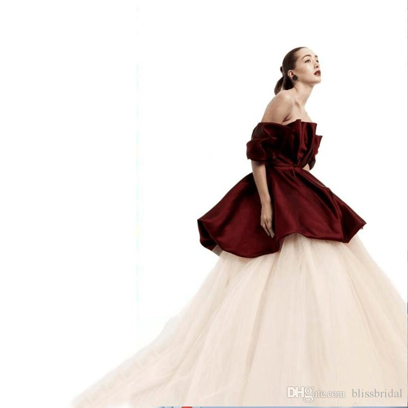 Two Pieces Formal Evening Dress Off The Shoulder Bubble Peplum Top and Long Tulle Layers Skirt Fast Shipping Ball Gown Prom Dresses