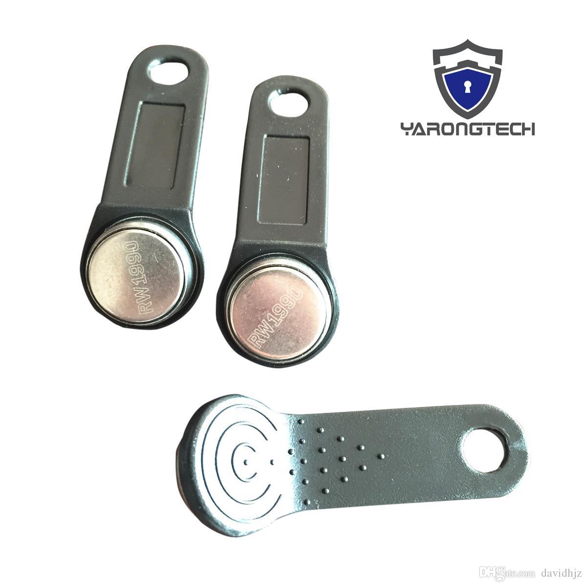 Confezione da 100 DS1990 A F5 tm1990 iButton I-Button elettronica chiave IB Tag Blu Nero