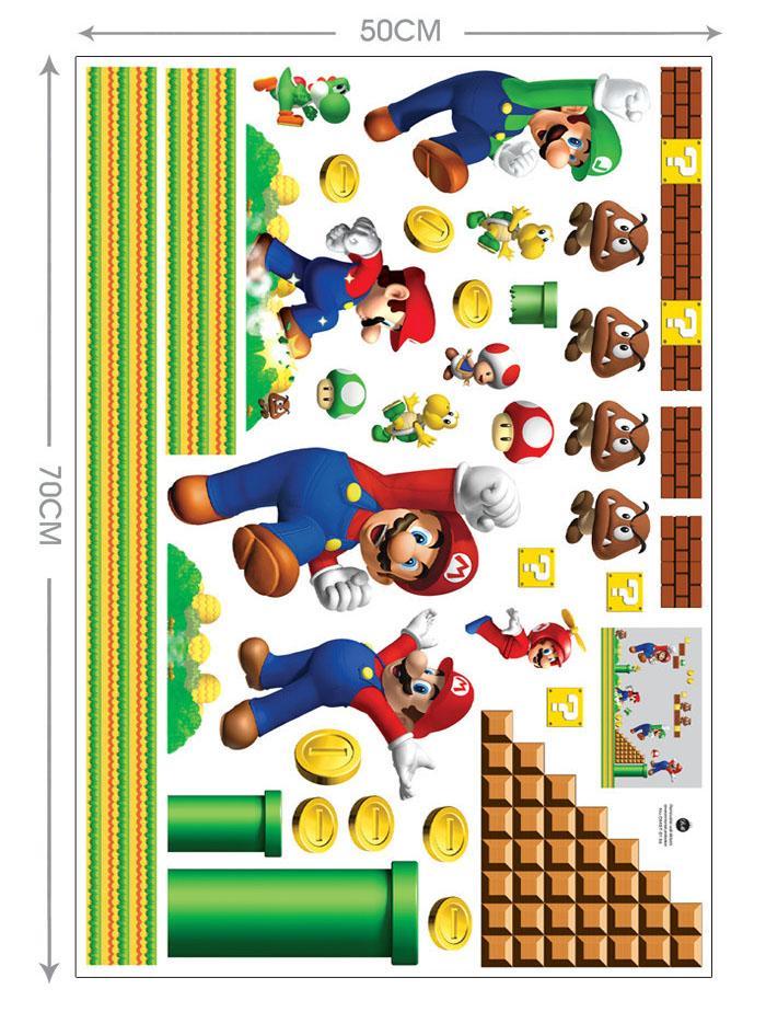 Super Mario Bros Boy Cartoon Wall Stickers Kids Rooms Vinly Bedroom Decoration Decals Children Art Wallpapers