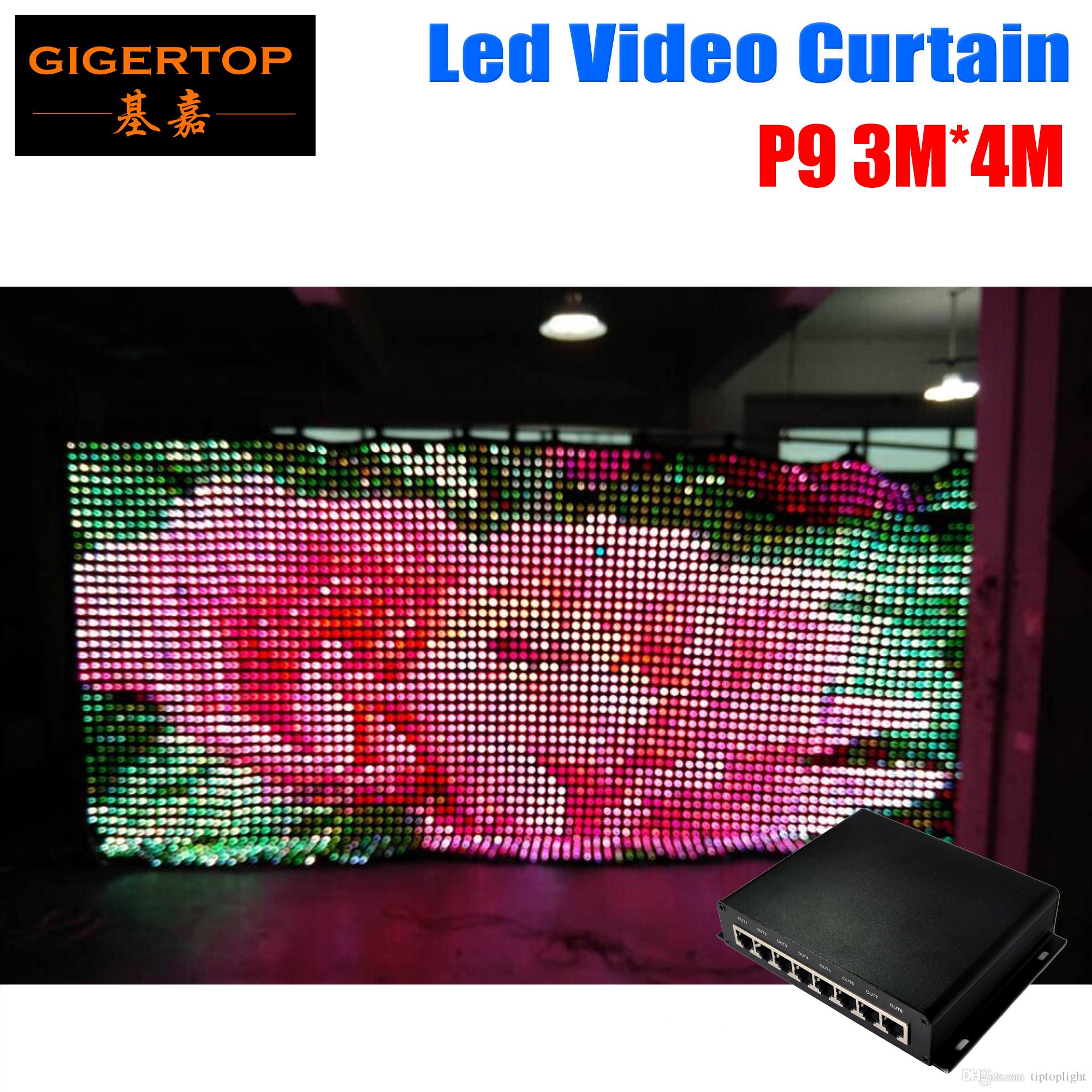 P9 3M * 4M Modo de PC Led Video de cortina DJ Fondo de escenario 1200pcs 3in1 Led cortina con 80 tipos patrón de escenario de la boda telón de fondo