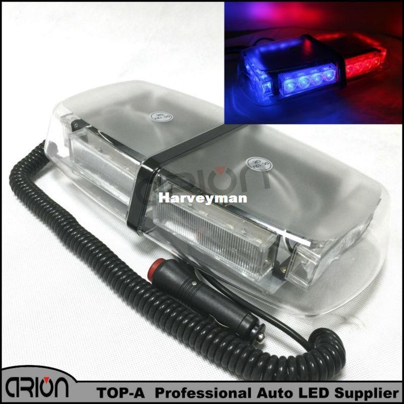 Hot Sale!!! Magnets 24W 24LED Car Double side Mini LED Emergency Vehicle Strobe Light Warning lightbar Lights Beacon Red Blue