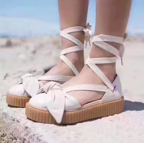 new styles 067f4 e4f67 Cheap Rihanna Fenty Bow Creeper Sandal For Womens Slippers Riband Size 35  40 With Box Women'S Shoes Outdoor Sandals Fenty Real Leather Discount Shoes  ...