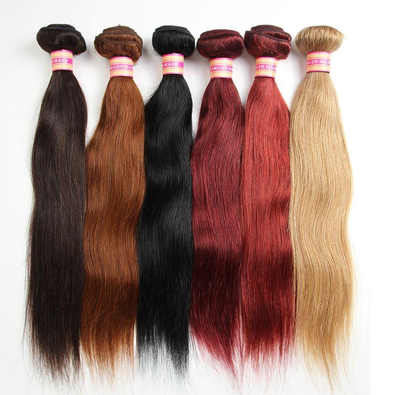 La armadura brasileña del pelo humano de la Virgen empaqueta el pelo recto brasileño que teje las extensiones del pelo humano 100G Color # 1 # 2 # 4 # 30 # 99j # 33 # 27