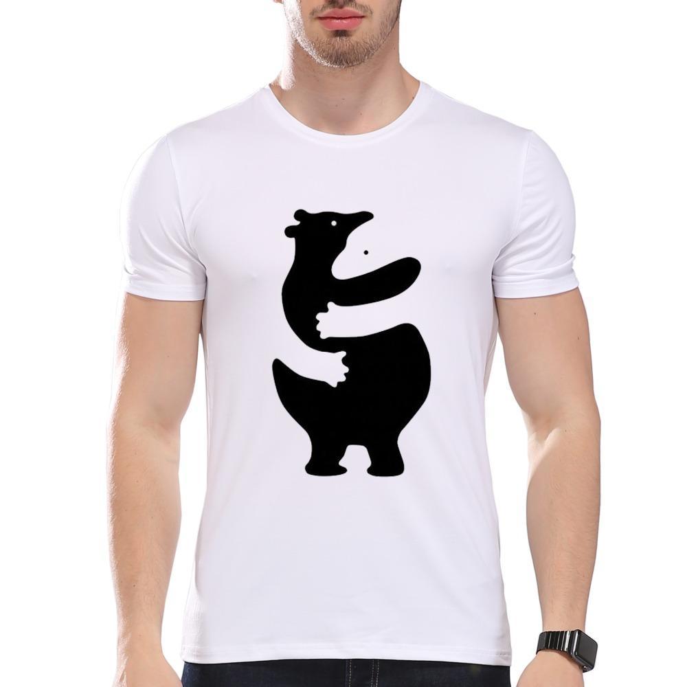 Мужская смешно животных стиль прекрасный черный белый медведь Hug печати футболка мужчины лето модальные Hipster тройники дешевые