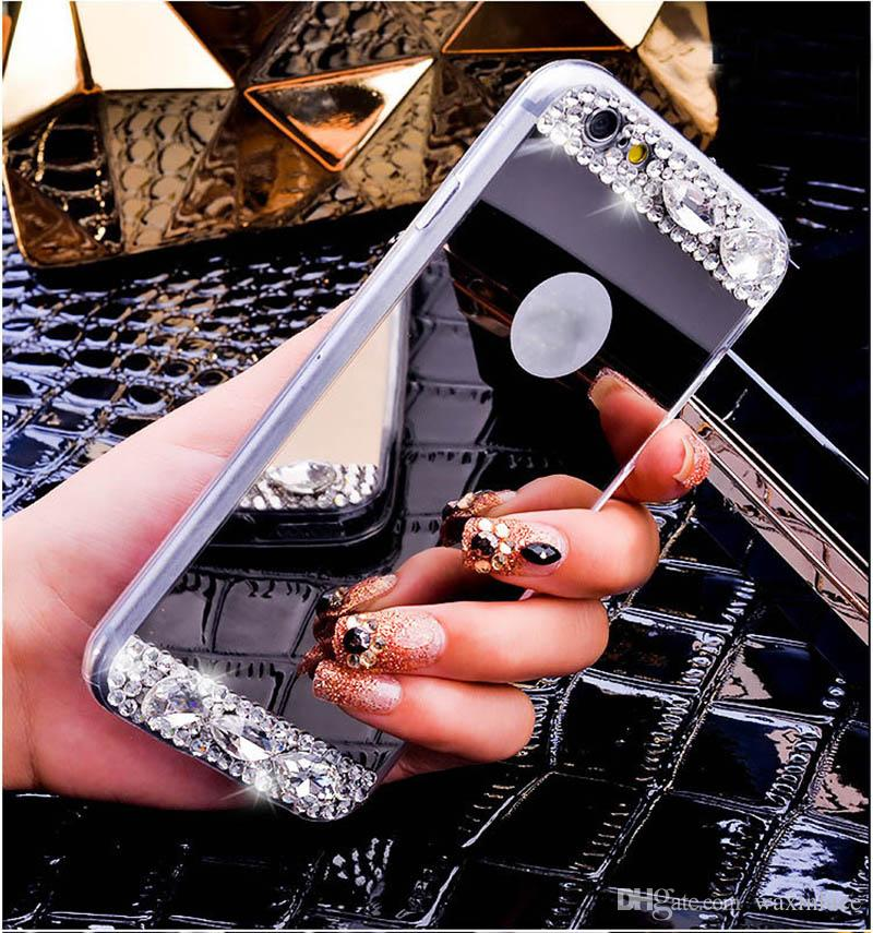 For iPhone 7G Mirror case Electroplating Rhinestone Soft TPU Phone Case Cover For Apple iphone 7 7plus 4.7 5.5inch