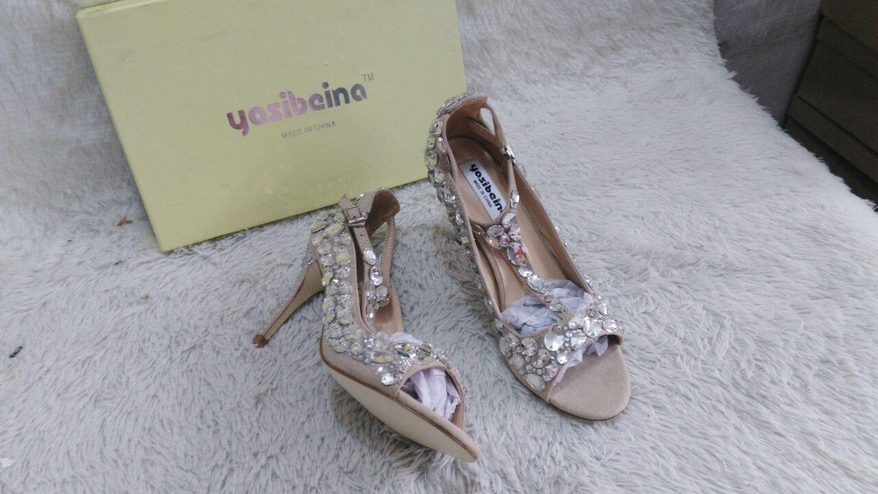 3d8358c1da9b97 2017 Luxury Diamond Wedding Shoes Jeweled Heel Gladiator Sandals Women  Rhinestone Crystal Embellished T Strap Summer. CUSTOMER SATISFACTION