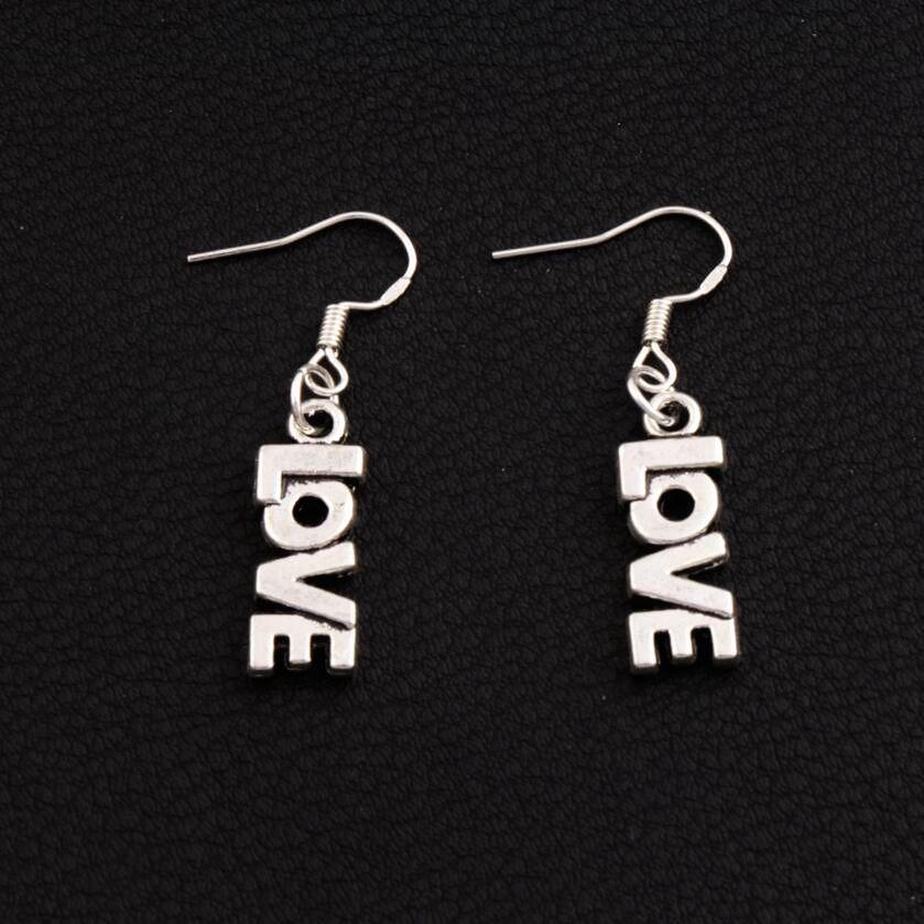 LOVE Lettre Boucles d'oreilles 925 Argent Poisson Crochet D'oreille 50 paires / lot Antique Argent Lustre E921 7.8x38mm
