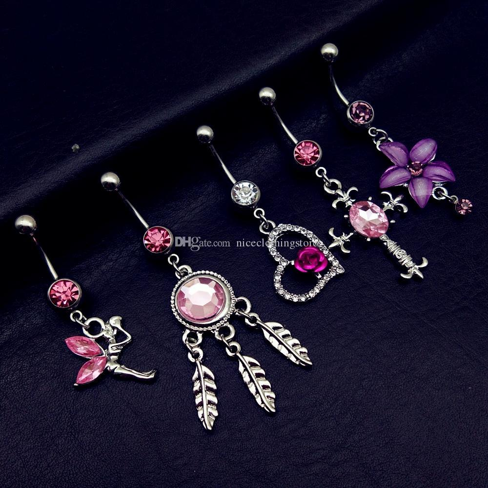 20pcs mix style pink angel dream catcher cross rose flower dangle navel belly bar button rings body piercing jewelry sets