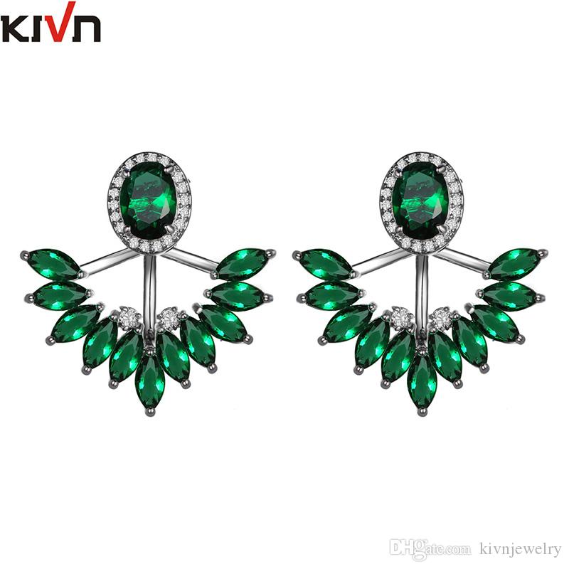 KIVN Fashion Jewelry Pave CZ Cubic Zirconia Bridal Wedding Earring Ear Jackets for Women Mothers Day Birthday Christmas Gifts