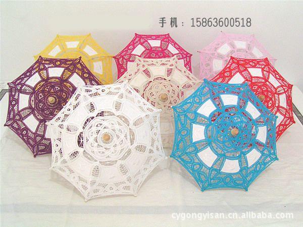 Processo de venda direta da fábrica bordado rendas rendas guarda-chuva princesa de seda decorativo clássico guarda-chuvas