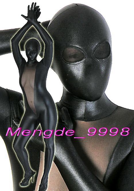 Sexy nero lucido metallizzato e nero spandex vestito di seta tuta costumi unisex tuta costumi cosplay outfit con occhi maglia M058