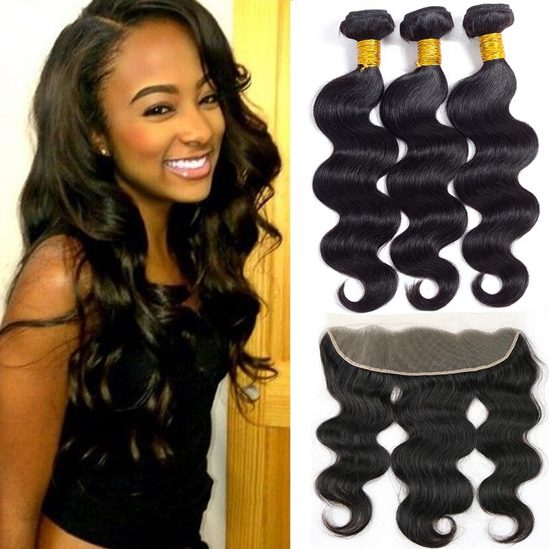 Aliyou 8A Brazilian Virgin Hair Body Wave 3 Bundles with Ear to Ear Frontal Closure Unprocessed Peruvian Wet and Wavy Human Hair Extension
