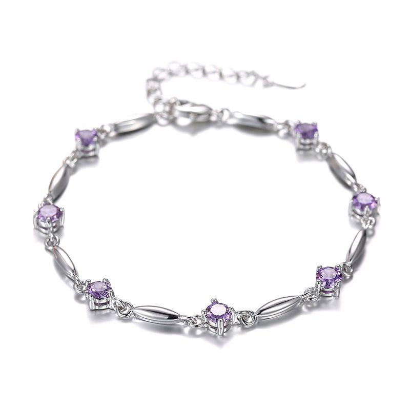 Wholesale-ER Pure 925 Silver Braslet Purple Stone CZ Tennis Bracelet Amethyst Braclet for Women Pulcera Feminina SB026
