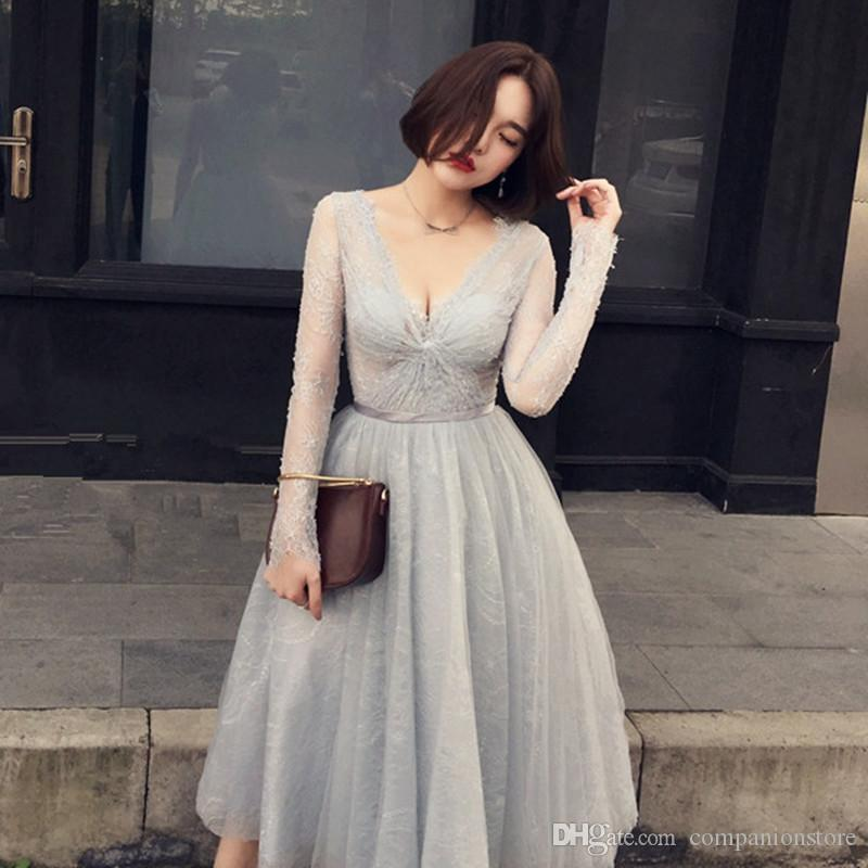 Beautiful Long Sleeve Gray Evening Dress Lace Spring Formal Gowns Tea Length Sexy Long Evening Dress Luxury Dresses 0105c Long Sleeve Dresses Black