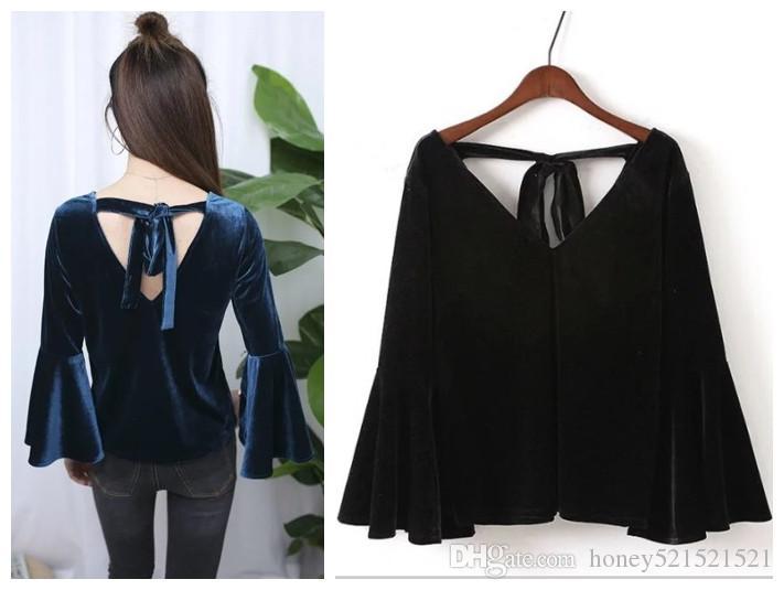 Осень новая мода женская свободные с длинным рукавом flare рукавом v-образным вырезом бархат сплошной цвет топы рубашки 4XL
