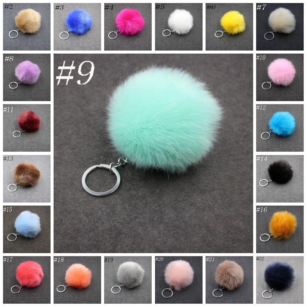 3.15 Inch Fluffy Faux Rabbit Fur Ball Charm Pom Pom Car Keychain Handbag Key Ring 24 Color FBA Drop Shipping C95Q