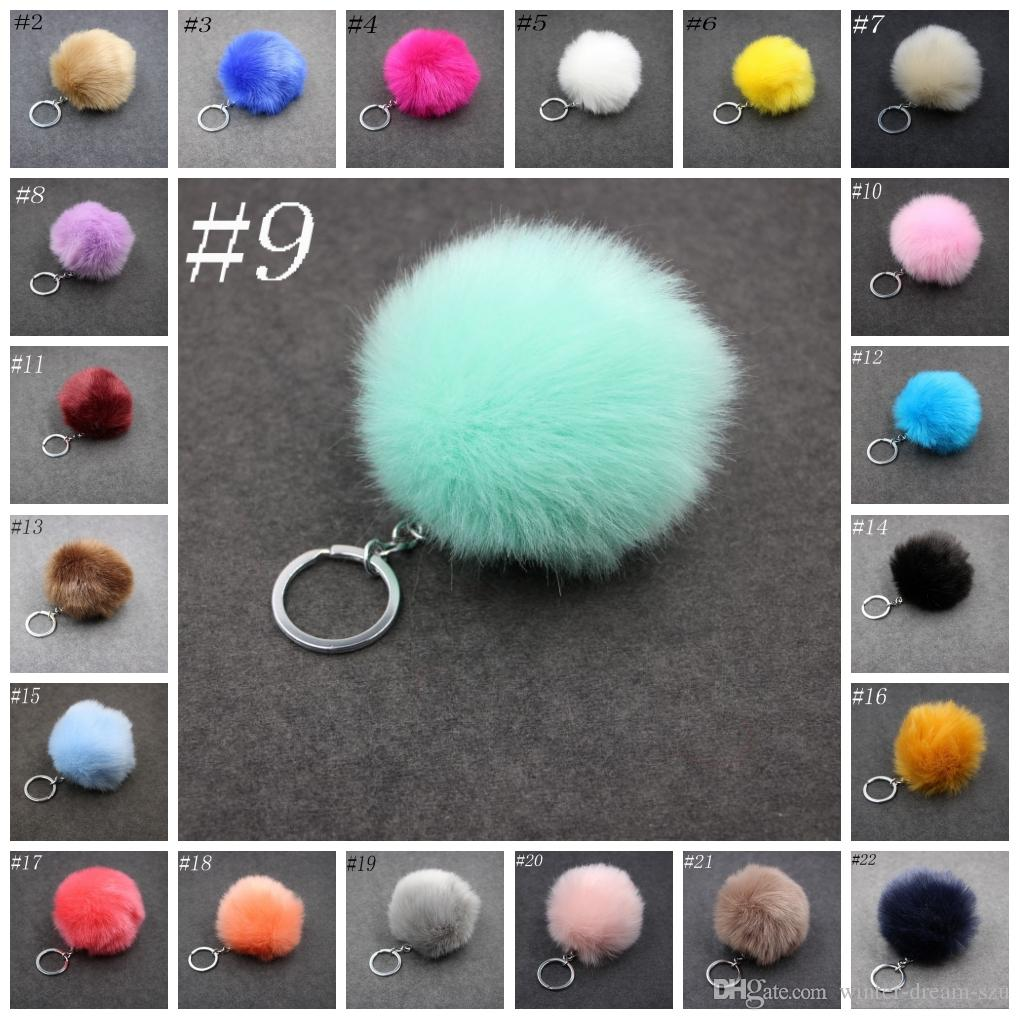 3.15 Inch Fluffy Faux Rabbit Fur Ball Charm Pom Pom Car Keychain Handbag Key Ring 24 Color FBA Drop Shipping C95Q