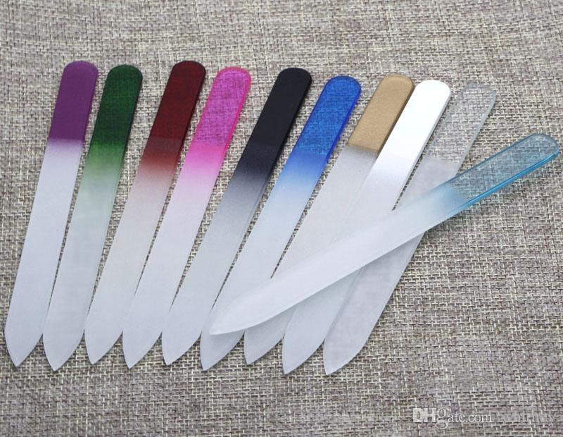 """5.5 """"Glasspikfiler Slitstark Crystal File Nail Buffer Nail Care upp till 10 färger NF014 Drop Shipping"""
