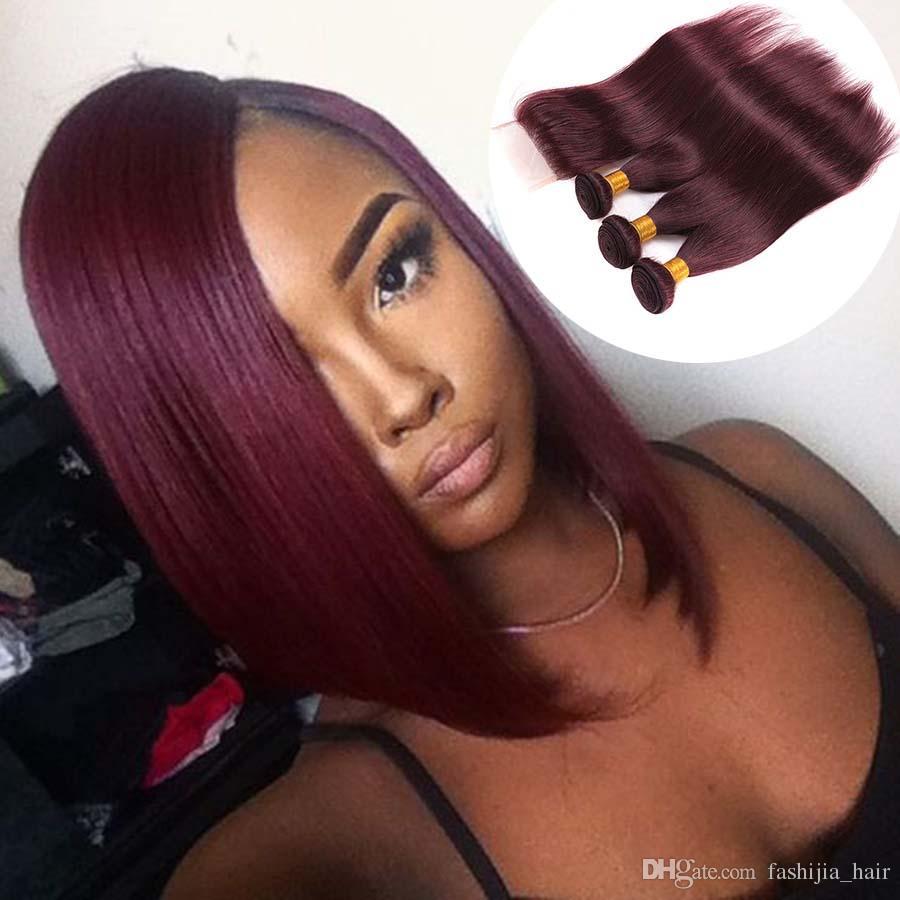 2019 Bob Hair Peruvian Indian Malaysian Brazilian Virgin Hair Bundles With Closure Straight Red Wine Burgundy 99j Straight Human Hair Weave Weft From