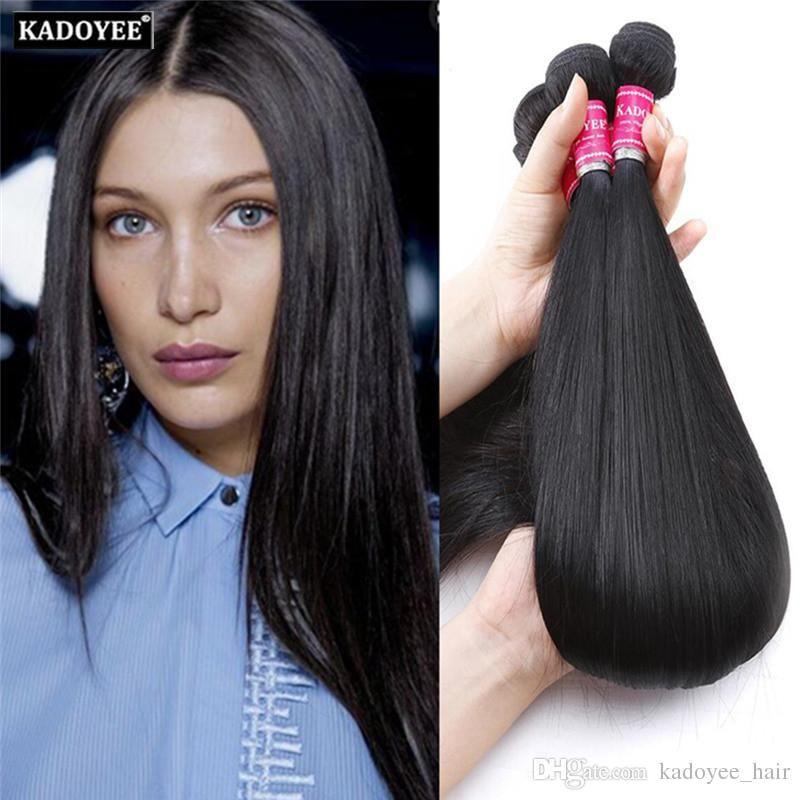 Kadoyee 8A Brazilian Straight Virgin Hair 3 Bundles for Full Head Unprocessed Cheap Peruvian Malaysian Indian Human Hair Extension Free Ship