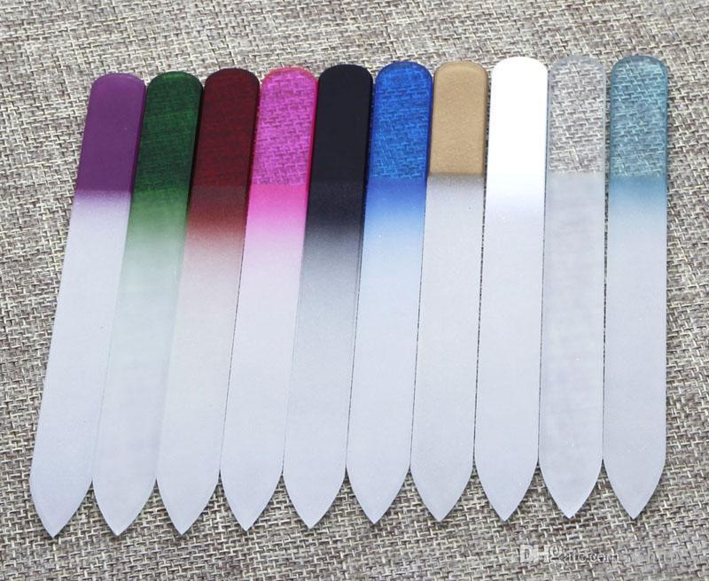 "Glas Nail Files Crystal Fingernail File Nail Care 5.5 ""/ 14 cm 10 kleuren beschikbaar NF014 Gratis verzending"