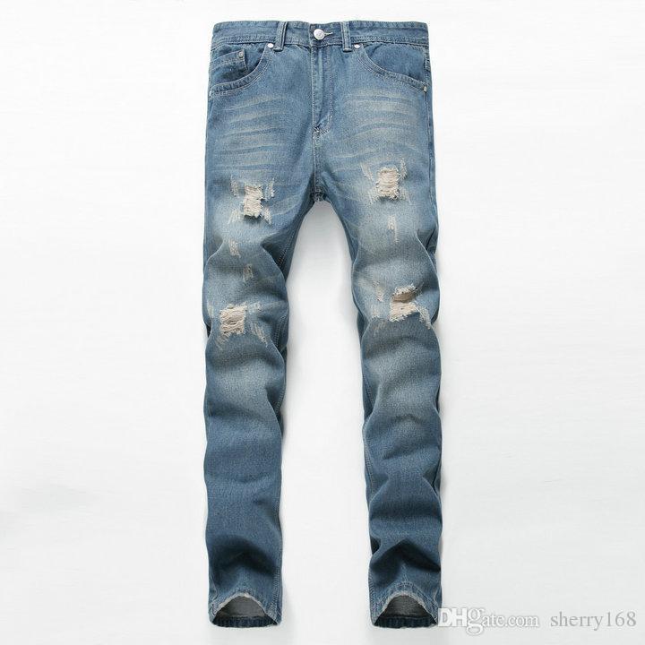 2017 erkek moda delik ripped biker jeans Erkek Orijinal Marka casual slim yama yüksek kalite denim pantolon Uzun pantolon Artı Boyutu Kot